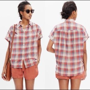 Madewell Central Button Shirt in Bergen Plaid